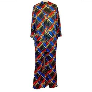 Plus vintage abstract three piece pant suit